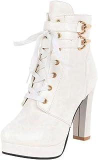 VulusValas Women Chunky Heel Ankle Boots Zip