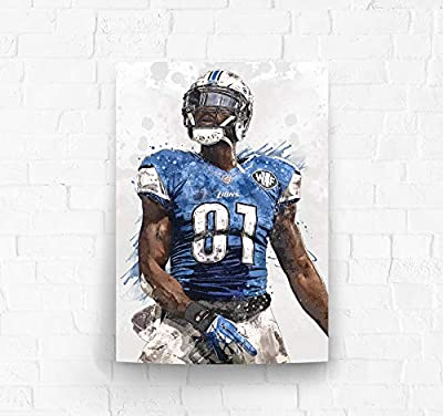 TopShelfPrints Calvin Johnson Detroit Lions Poster/Canvas Print - Football Artwork - Kids Room Wall Decor - Man Cave - Sports Decor - Birthday Gift Idea (Premium Poster, 18 x 24 Inches)