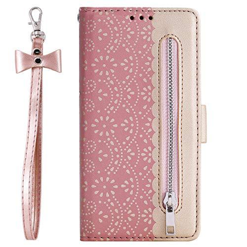 WANYINGLIN Stunning Girl Lace für Samsung S20 Plus,Slim Colorful Book Leather Hülle Purse Wallet Flip Kickstand Leder Magnet with Card Slot Holder