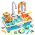 CUTE STONE Play Kitchen Sink Toys with Upgraded Real Faucet, Play Cooking Stove, Cookware Pot and Pan,Play Food, Color Changing Dishes Accessories for Boys Girls Toddlers from Cute Stone
