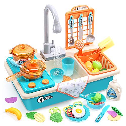CUTE STONE Play Kitchen Sink Toys with Upgraded Real Faucet, Play Cooking Stove, Cookware Pot and Pan,Play Food, Color Changing Dishes Accessories for Boys Girls Toddlers