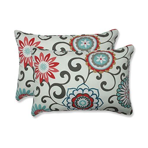 "Pillow Perfect Outdoor/Indoor Pom Play Peachtini Oversized Lumbar Pillows, 24.5"" x 16.5"", Blue, 2 Count"