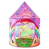 キッズテント 子供用おもちゃハウス 可愛いボールテントハウス Kids Tent Girls tent知育玩具 室内遊具 秘密基地 折り畳み式 簡単に使用 お誕生日 クリスマスのプレゼント おままごと 虹とユニコーンの世界 FOSONN (ピンク)