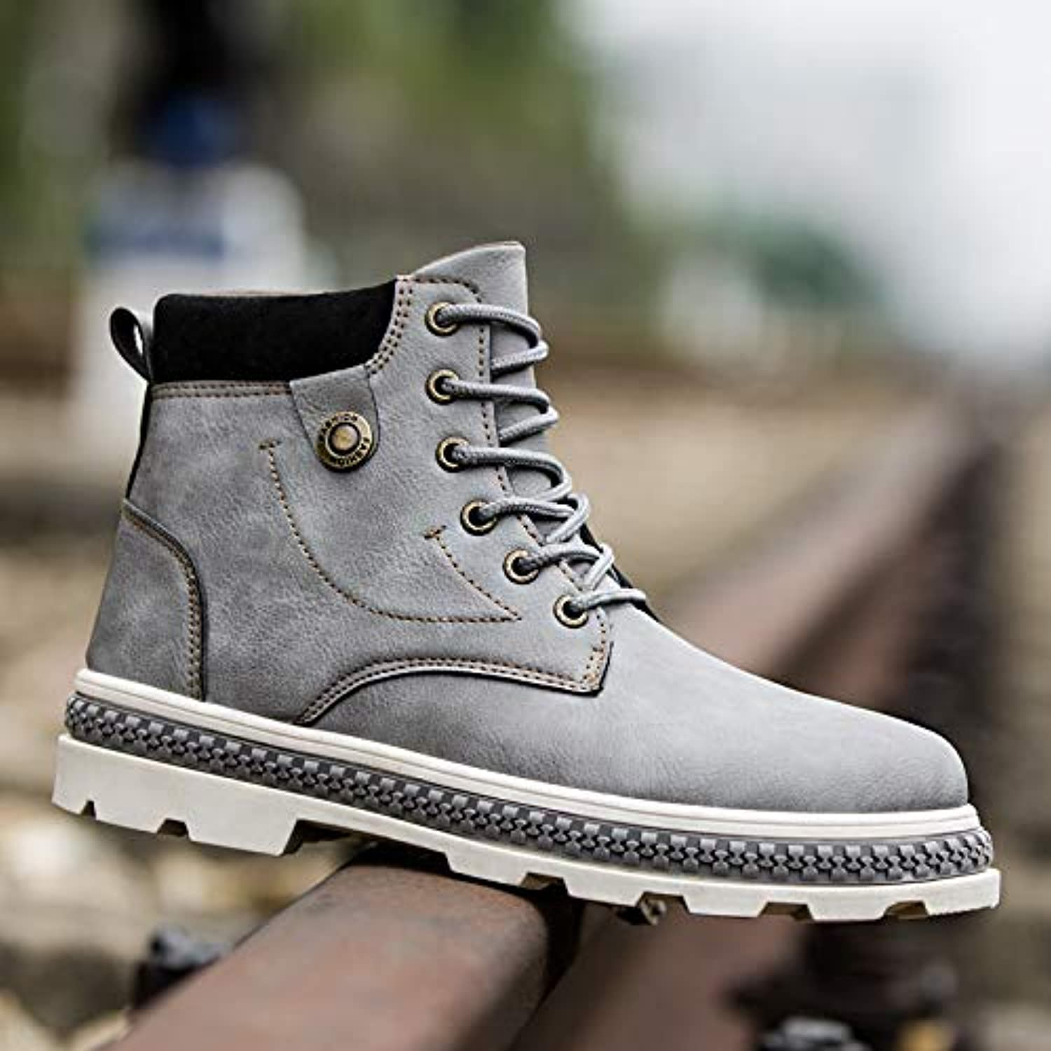 LOVDRAM Boots Men's Autumn And Winter New Military Boots Outdoor Martin Boots Tooling Boots Men'S Casual shoes In The Tube shoes Fashion Non Slip Men'S shoes