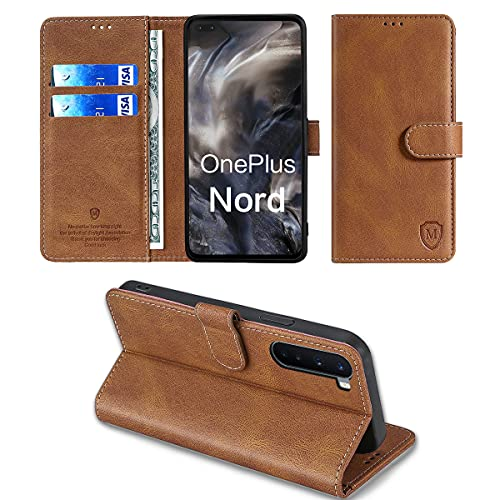 xinyunew Wallet Serie Handyhülle für OnePlus Nord/OnePlus 8 Nord/Oneplus Z Hülle Leder Flip Hülle Cover Schutzhülle für OnePlus Nord/OnePlus 8 Nord/Oneplus Z Tasche, Braun