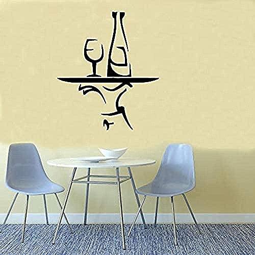 Mano De Chef Con Bandeja Botella Vidrio Cocina Etiqueta De La Pared Café Restaurante Vinilo Arte Mural Decoración Del Hogar Cartel Autoadhesivo 57X80 Cm