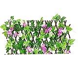 sevenjuly Retráctil Enrejado Valla Valla La expansión de cribado con Hojas Artificiales púrpuras del Narciso por un Patio Trasero de la decoración, Valla Decorativo