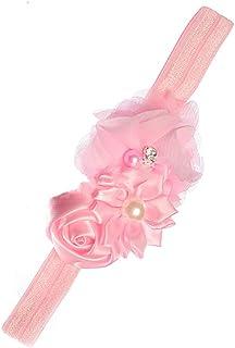 Ogquaton Bandeau bébé fille en prime avec bandeau en mousseline de soie avec bandeau en fausse perle rose