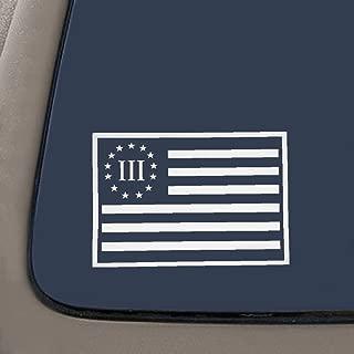 CMI NI278 Betsy Ross Three Percenter Flag Decal | Molon Labe Decal | 3 Percenter Decal | Premium Quality White Vinyl | 7.5