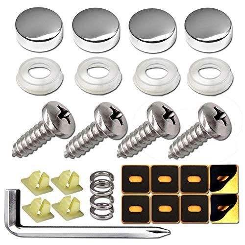 Nylon Screw Inserts Chrome License Plate Screws Fastener Kit Chrome Screw Covers /& Anti-Rattle Foam Pads for Fastening License Plates /& Frames Chrome Stainless Steel Stainless Steel Screws