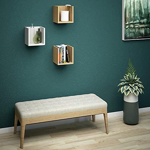 Homemania - Set di 3 mensole, libreria, cubo per parete in quercia, bianco in legno, 25 x 25 x 25 cm, pennello di particelle, colore: Bianco