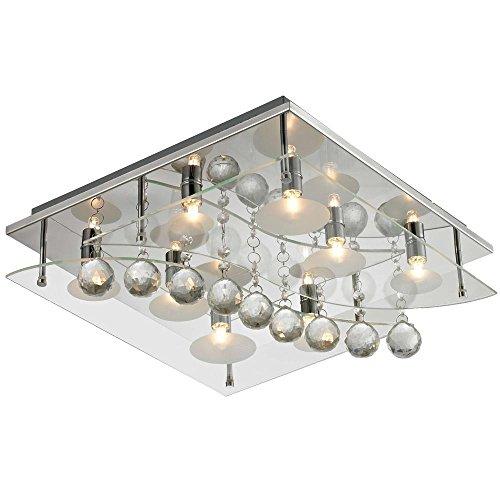 Deckenleuchte Chrom Beleuchtung Kristall Glas Wohnzimmer quadratisch Lampe Esto 940030-8 AQUILA