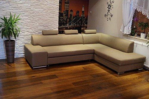 Quattro Meble Hoekbank Londen II 3z 275 x 200 Sofa Couch met bedfunctie, bedlade en hoofdsteunen, bruin echt leer, Hermes Mocca Hoekbank, grote keuze aan kleuren