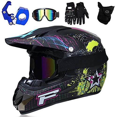 WAHA Casco de Motocross,Casco de Resistencia Cuesta Abajo con Certificado de Seguridad Dot,Casco Cruzado para niños,con Gafas,máscara y Guantes,03,M