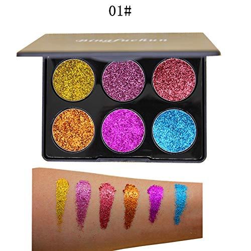 DOUYUAN Purple 6 Couleur Maquillage Diamant Glitter Ombre À Paupières Palette d'or Imperméable Shimmer and Shine Paillettes Fard À Paupières Pallete Pigment Cosmétique (Color : 01)