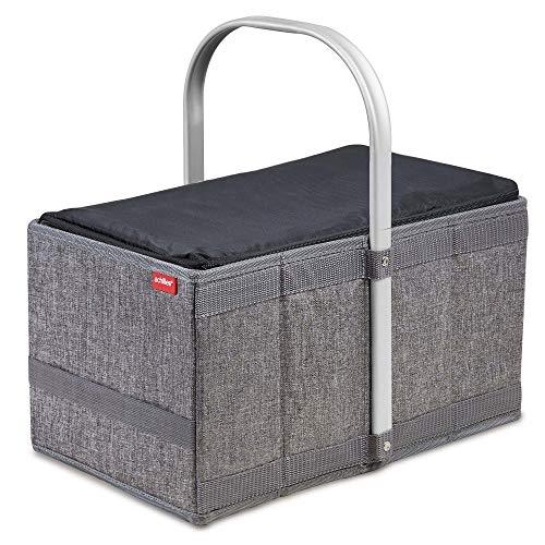 achilles Handle-Box Cool Einkaufs-Korb mit Kühl-Einsatz Picknick-Korb mit Aluminium Griff Kühl-Tasche herausnehmbar Klapp-Box Trage-Korb Falt-Tasche Grau 40 cm x 24 cm x 20 cm