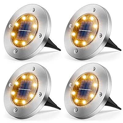 MOAOO Solar Ground Lights, 8 LED Solar Lights Outdoor Waterproof Solar Garden Lights Solar In-Ground Lights for Patio Lawn Pathway Yard Driveway, Warm White, 4 Pack