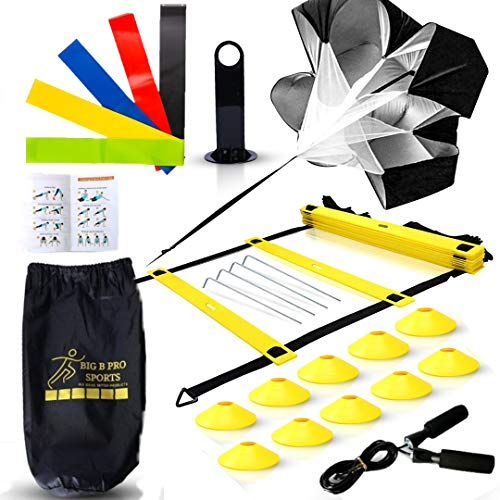 Big B Pro Sports Speed Agility Training Set - Includes Ladder, 10 Cones with Holder, Running Parachute, Jump Rope, Resistance Bands - for Training Football, Soccer, and Basketball Athletes (Yellow)