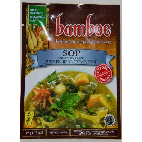 Bamboe Sop (sopa de pollo / carne de buey), 47 gramos (paquete de 3)