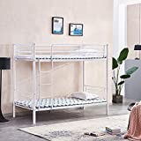 HomeSailing EU 2x3ft Metal Bunk Bed Frame with Ladders and Safety Guardrail High Bed Twin Sleeper for Kids Children and Adults Single Bed Loft Bed White