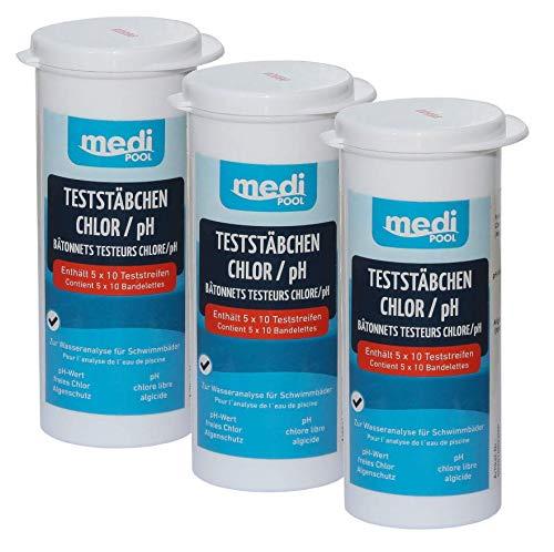 Medipool 3 boîtes 502010803 MP Bandelettes de Test pour Chlore/pH/algues Protection 150 Test Bâtonnets
