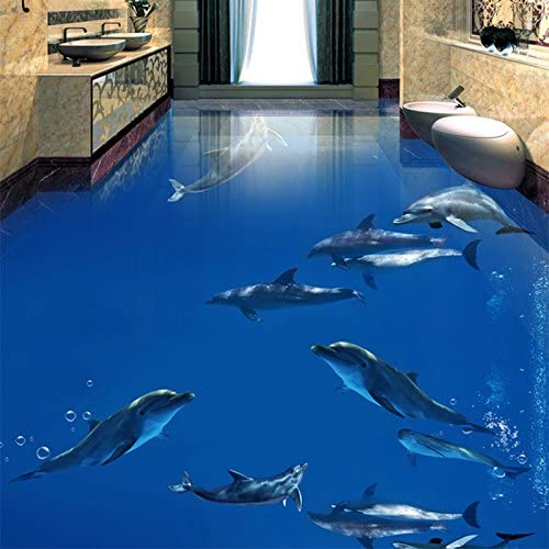 Amazon Com Lwcx Pvc Self Adhesive Waterproof 3d Floor Tiles Wall Papers Sticker Underwater Dolphins Photo Murals Living Room Bathroom Wallpaper 150x120cm Home Improvement
