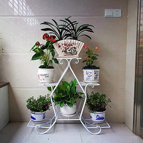 Porte-fleurs 3 niveaux en fer Art Cadre en fleur creux Style moderne et simple Balcon intérieur et extérieur créatif Jardin Salon (Color : White)