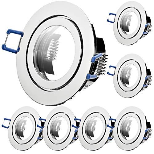 7 x Bad Einbaustrahler 230V inkl. GU10 Fassung Farbe Chrom IP44 Deckenspots Neptun Rund Einbauleuchten