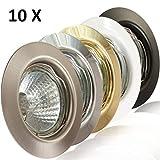 10x Deckeneinbaustrahler Deckeneinbauleuchte Einbaurahmen Einbaustrahler Einbauleuchte Einbauspot Einbauring Metall LED Halogen GU10 MR16 (Weiß)