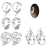 JOERICA 4 Pairs Silver Ear Cuff Earrings for Women Girls Clip on Fake Lip Cartilage Tragus...