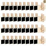 Yangfei 100Pcs Etiqueta de Precio, Pizarras Pequeñas 4 * 3.5 cm Mini Pizarras de Madera, Mini Carteles de Pizarra Pizarras de Madera con Clip para Nombre, Precio, DIY y Decoración (negro)