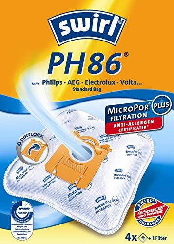 4 Staubsaugerbeutel Swirl PH 86, PH86 geeignet für AEG Electrolux Silent performer ASP7150