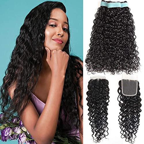 Water Wave 3 Bundles with Closure 8A Ocean Wave Bundles with Closure Wet and Wavy Human Hair Weave 3 Bundles with Closure (18 20 22+16, Natural Color)