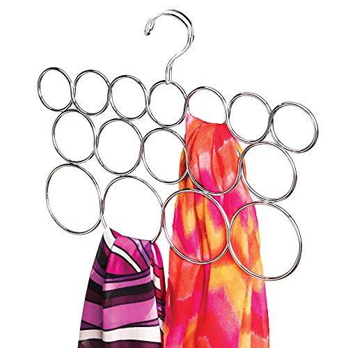 mDesign Porta sciarpe salvaspazio con 16 anelli – Perfetto per sciarpe e foulard ma anche come porta cravatte – cromato