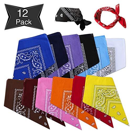 Sylanda Bandanas[12 Pack] Kopftücher Damen und Herren 55 x 55 cm, 100% Baumwolle Set für Frauen, Männer und Kinder Mode-Vierecktuch