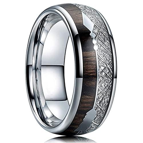 FQYYDD Anillos de hombre de carburo de acero inoxidable anillos incrustados madera meteorito flecha boda banda hombres ', 8, plateado