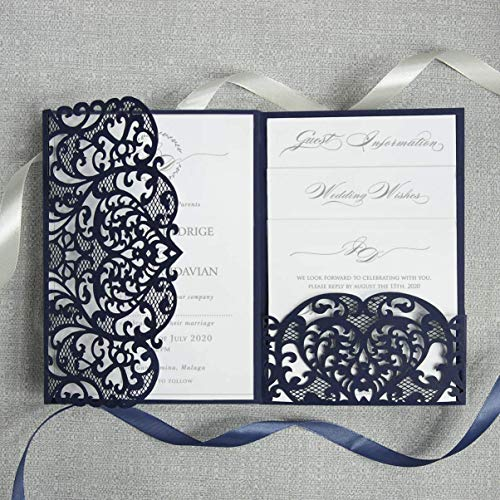 50 Cards DIY Set Laser Cut Navy Blue Wedding Invitations with Envelopes Trifold Pocket with 4 Inserts printable template invitation cards kit