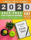 5 year monthly planner 2020-2024: monthly planner 5 year | 60 Months Calendar Large size 8.5 x 11 2020-2024 planner, organizer and internet logbook | everyday is a fresh start design
