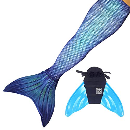 Sun Tails Set Premium Mermaid Tail Ocean Deep Mermaid Swimming Fun Diving Sports Tail Monofin Swimwear Princess JM with Monofin Turquoise and Costume
