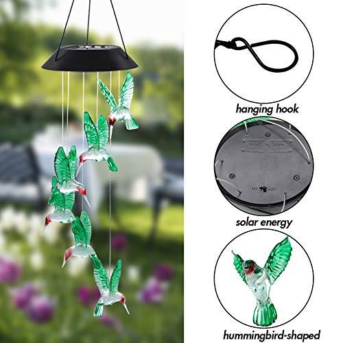 MorTime LED Solar Hummingbird Wind Chime, 25