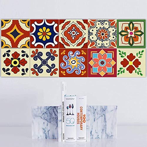 Fliesenfolie Fliesenaufkleber Klebefolie Fliesen I Aufkleber Folie Sticker Fliesensticker Fliesenspiegel Küche renovieren Bad deko I 15x15 cm - Motiv Portugiesisch - 20 Stück (red)