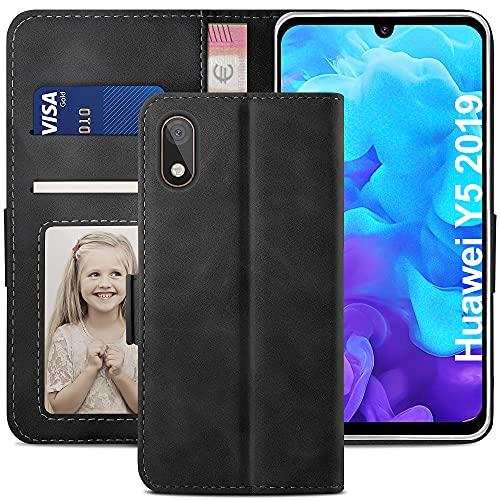 YATWIN Handyhülle Huawei Y5 2019 Hülle, Klapphülle Huawei Y5 2019 Premium Leder Brieftasche Schutzhülle [Kartenfach][Magnet][Stand] Handytasche für Huawei Y5 2019 Hülle, Schwarz