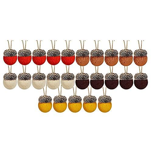 FolvZil 25 piezas de fieltro de hiande adornos de lana enfieltrada de guirnaldas de fieltro, bolas de hiande de hiande rústicas, decoración de heladas de granja