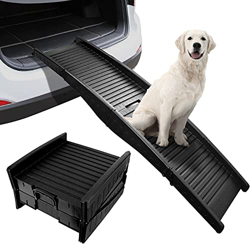 BreeRainz 60 Inch Dog Car Ramp,Folding Pet Ramp for Vehicle Car and SUV,Portable Cat Stair,Load Up to 165 lbs with Non Slip Surface,Black
