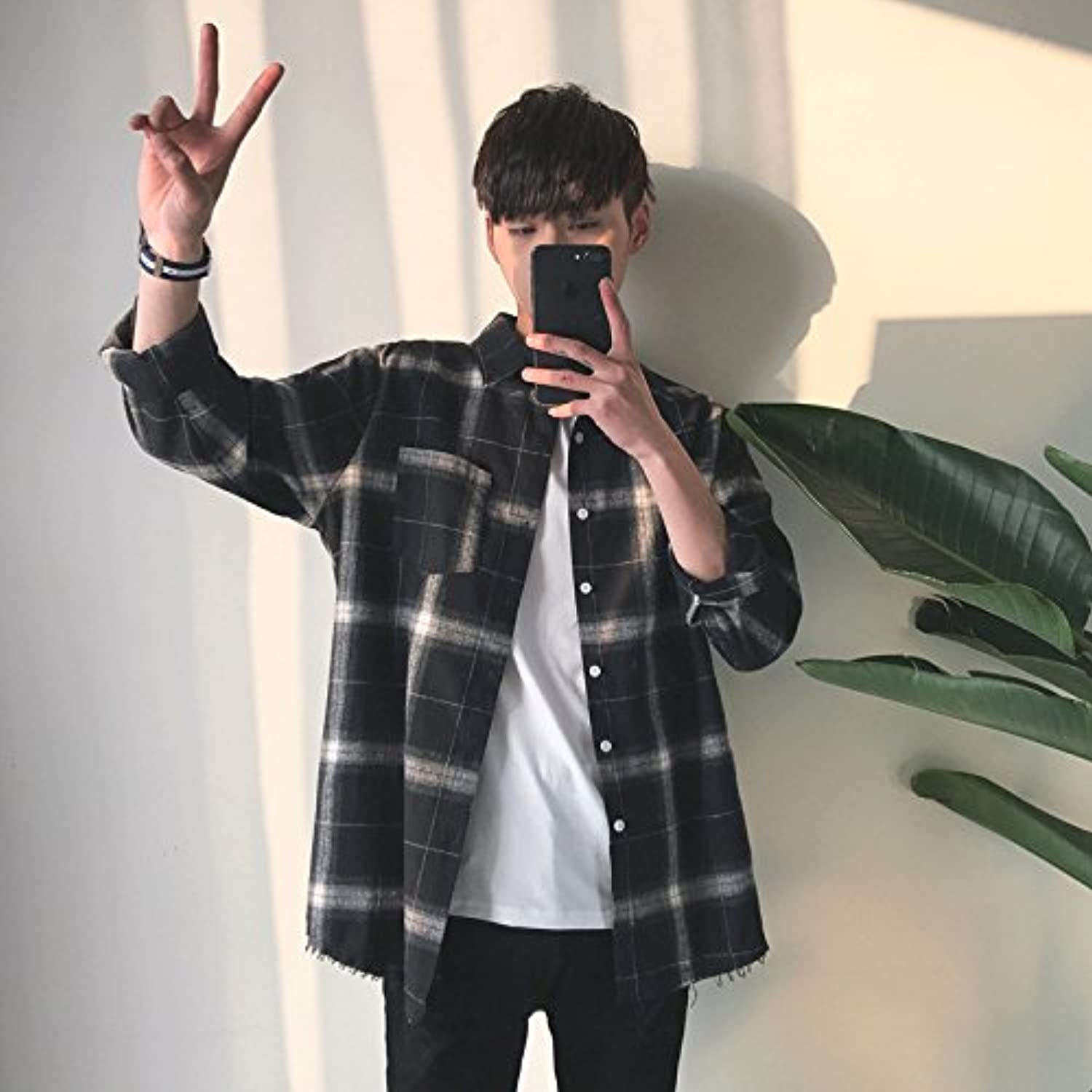 KunZhangVintage Plaid Shirt, Long Sleeved Shirt Collar Hem Ragged Men, Coat, Youth,2Xl,Black
