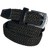 HW 1 cinturón elástico negro con una longitud total de 105 cm y 3,5 cm de ancho elástico trenzado.