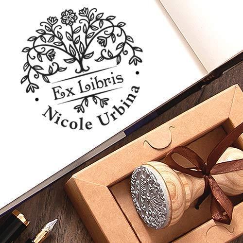 Personalisierter Stempel Baum des Lebens, Ex libris Stempel Baum Blütenbaum Personalisiert, Stempel Individueller Text Holz, Einzigartige Kraft Geschenkbox