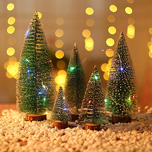 Entcook 5pcs Mini Artificial Sisal Snow,Christmas Trees with Wood Base Bottle and Four-Color String Light for Christmas Decoration and Display
