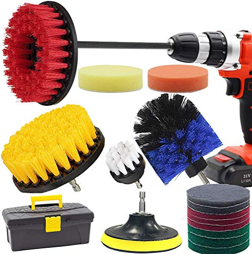 Drill Brush and Scrub Pads, GOH DODD 18 Pieces Power Scrubber Cleaning Kit with Long Reach Attachment in Box for Bathroom Shower Scrubbing, Carpet Cleaning, Grout Scrubbing, and Tile Cleaning
