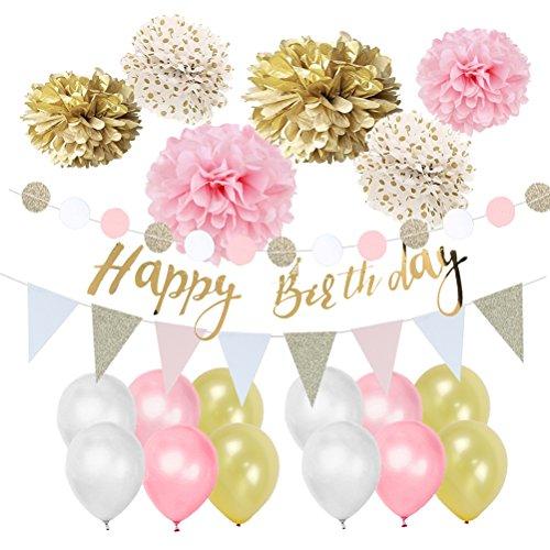 Easy Joy Gold Rosa Weiß Geburtstag Deko-Set Pastellfarbe Dekor Happy Birthday Girlande Pompoms Luftballons